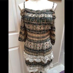 Anthropologie brand Gypsy crocheted tribal print